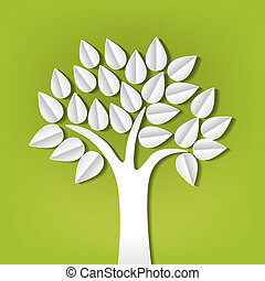 papier, coupure, fait, arbre, dehors