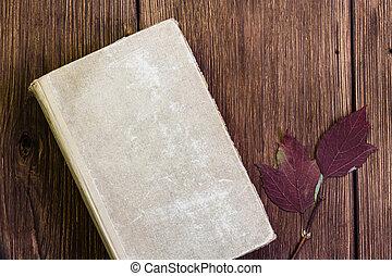 papier, couverture, fermé, vieux, mesquin, livre, rustique, style, feuilles blanc, fond, bois, vendange