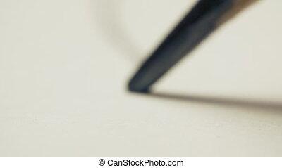papier, crayon graphite, dessine, macro, blanc, coup, ligne droite, fond