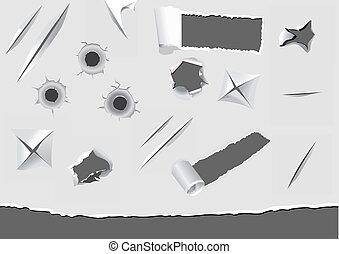 papier, endommagé, ensemble, torned, éléments