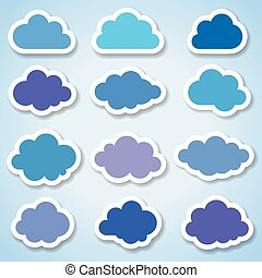 papier, ensemble, nuages, coloré, 16