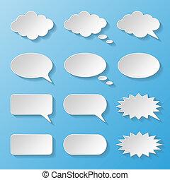 papier, ensemble, parole, bulles