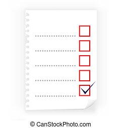 papier, fin, checkbox, bloc-notes, haut