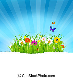 papier, fleurs, herbe, vert