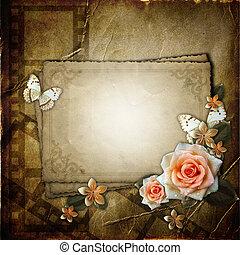 papier, fond, cadre, fleurs, vendange