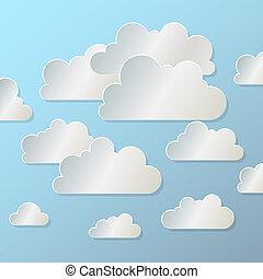 papier, fond, nuage blanc, bleu, eps10