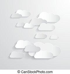 papier, fond, nuages, vecteur, coupure