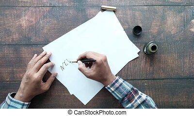 papier, fontaine, nouveau, écriture, buts, stylo, année