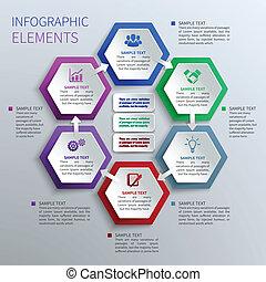 papier, hexagones, infographics