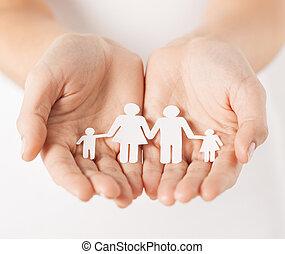 papier, homme, femme, famille, mains