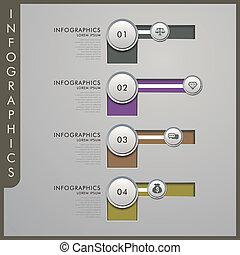 papier, infographic, éléments, 3d
