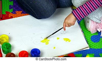 papier, mère, peinture, enfant