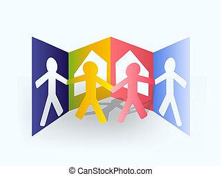 papier, multicolore, homme