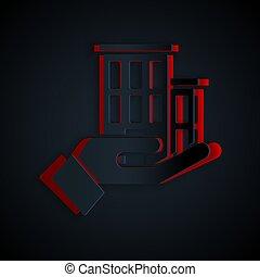 papier, noir, assurance, coupure, concept., arrière-plan., protection, style., isolé, icône, sécurité, vecteur, sécurité, art, maison, protéger