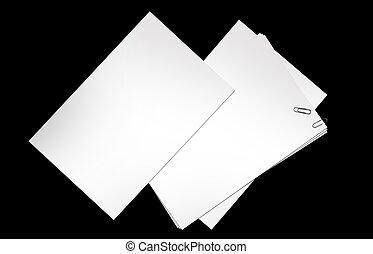 papier, noir, isolé, vide
