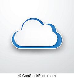 papier, nuage, white., white-blue
