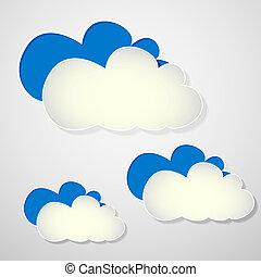 papier, nuages, bleu, blanc