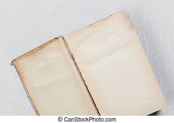 papier, page, vieux, mesquin, livre, ouvert, feuilles, vide, yellowed, vendange