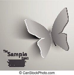 papier, papillon, coupé