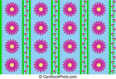 papier peint, fleur, rose, bleu