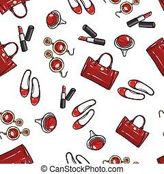 papier peint, rouge lèvres, chaussures, earing, anneau, sac