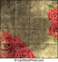 papier, roses, fond, vendange, silhouette, beau