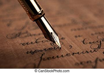 papier, texte, bois, stylo, noircissez encre fontaine, bureau