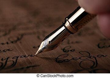 papier, texte, main bois, stylo, noircissez encre fontaine, bureau