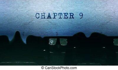 papier, typewriter., chapitre, feuille, 9, vieux, dactylographie, mots, vendange