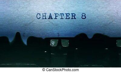 papier, typewriter., chapitre, vieux, feuille, dactylographie, mots, 8, vendange
