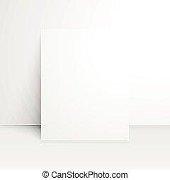 papier, vide, shadow., blanc