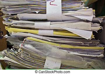 papier, vieux, fichiers, pile