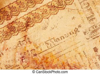papier, vieux, fond, -, vendange