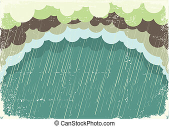papier, vieux, illustration, nuages, fond, pleuvoir, texture., vendange