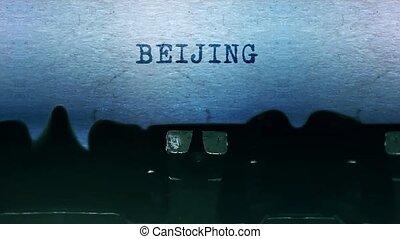 papier, vieux, typewriter., feuille, mots, beijing, vendange, dactylographie