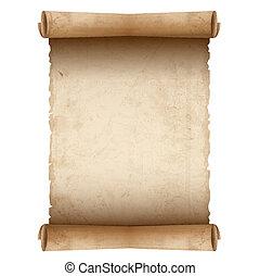 papier, vieux, vecteur, rouleau