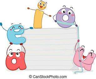 papier, voyelles, planche, illustration, mascotte