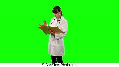 papiers, docteur, vue côté, vert, vérification, écran, elle