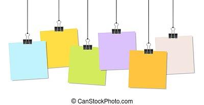 papiers, relieur, coloré, clips