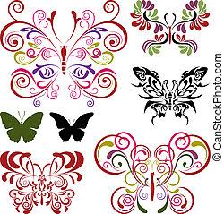 papillon, éléments, ensemble
