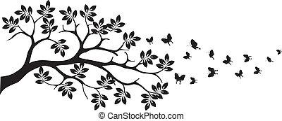 papillon, arbre, silhouette