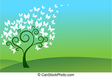 papillon, arbre vert