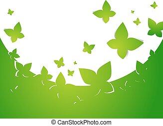 papillon, cadre, résumé vert