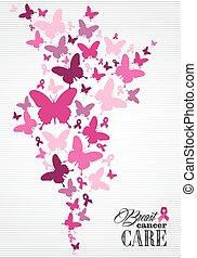 papillon, cancer, affiche, ruban, conscience, poitrine