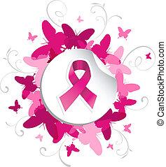 papillon, cancer, conscience sein