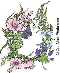 papillon, clipart, rose, cadre, chien, arrière-plan., vecteur, sauvage, fleurs blanches, dessin