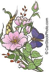 papillon, clipart, rose, chien, arrière-plan., vecteur, sauvage, fleurs blanches, dessin
