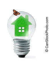 papillon, collage, vert clair, maison, ampoule, herbe
