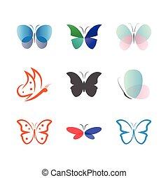 papillon, collection, vecteur, gabarit, logo, icône
