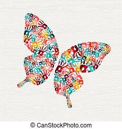 papillon, concept, main, forme, humain, impression